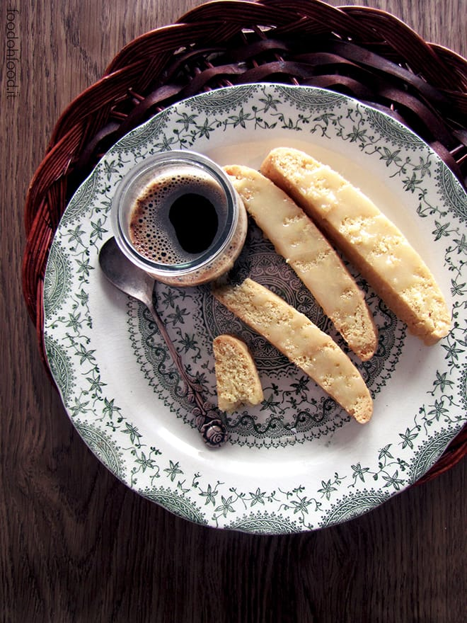 Olive oil biscotti with lemon, ginger and white chocolate