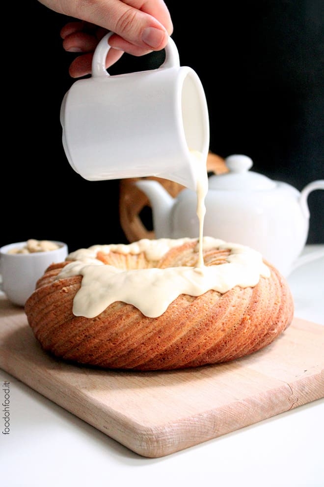 Perfect banana bundt cake with tahini glaze