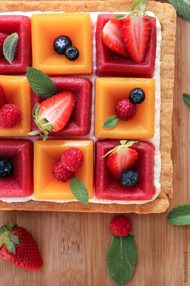 Mango and strawberry fruit tart with yogurt whipped cream