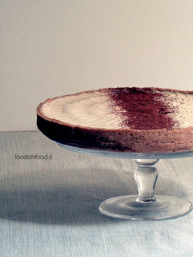 Creamy coffee, white chocolate and mascarpone cheese tart
