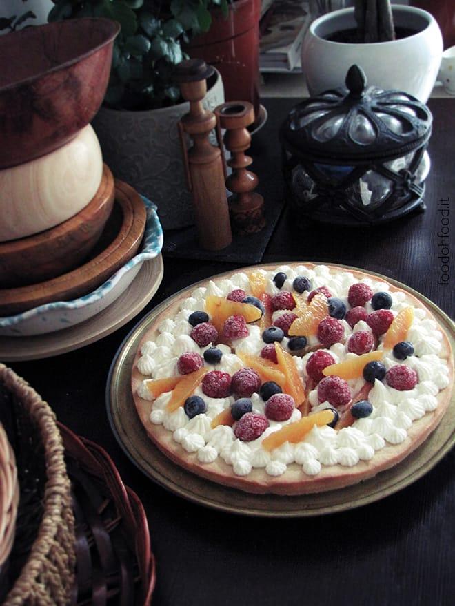 Creamy lemon namelaka tart with fresh fruit
