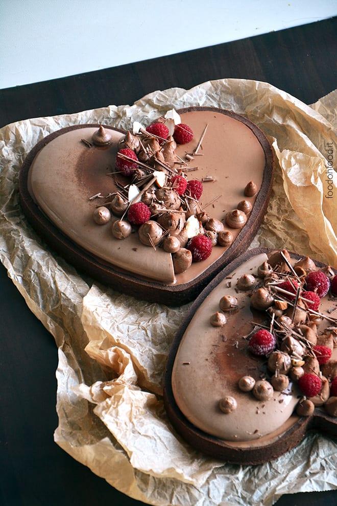 Broken heart triple chocolate tart