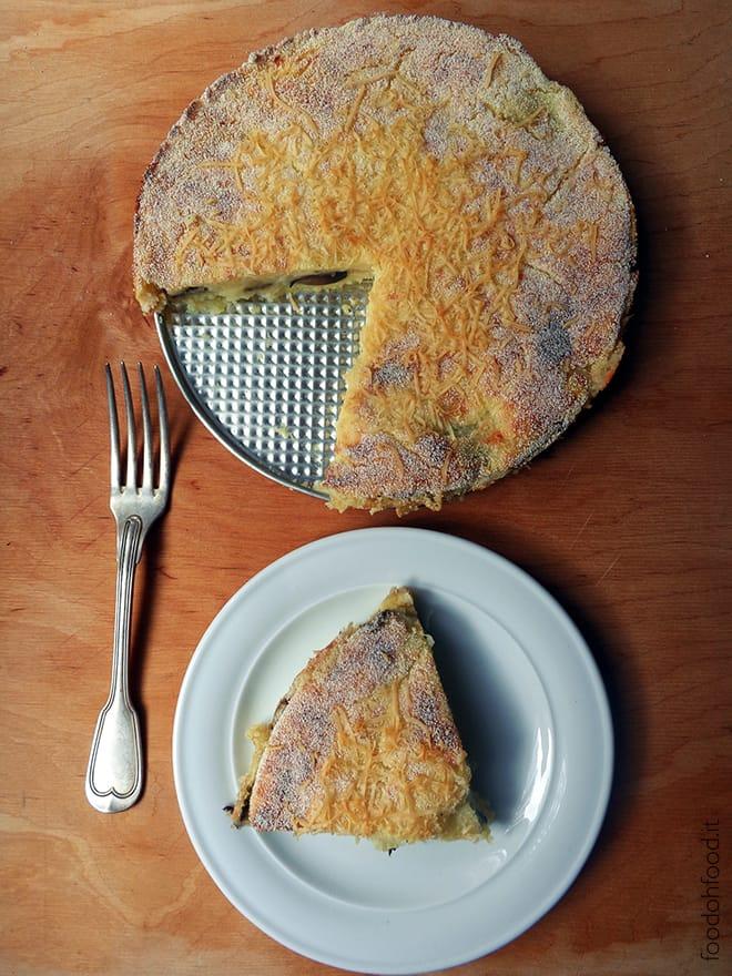 Italian potato cake with mushroom-mozarella filling