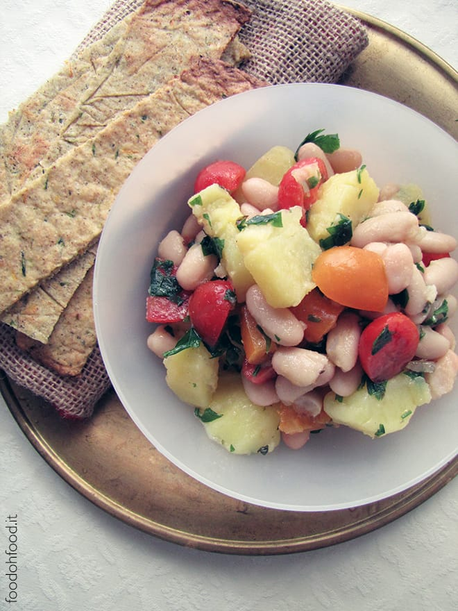 Potato and white bean salad with garlic dressing