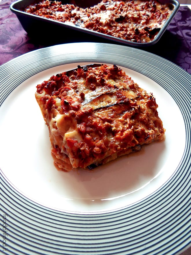 Vegetarian moussaka with lentil ragu