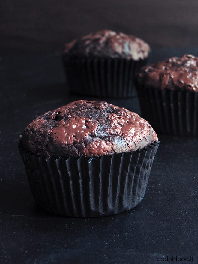 Moist and decadent dark chocolate banana muffins