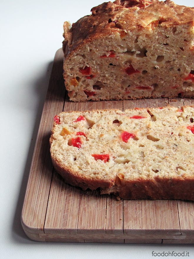 Quick bread with marinated roasted bell peppers and cheese