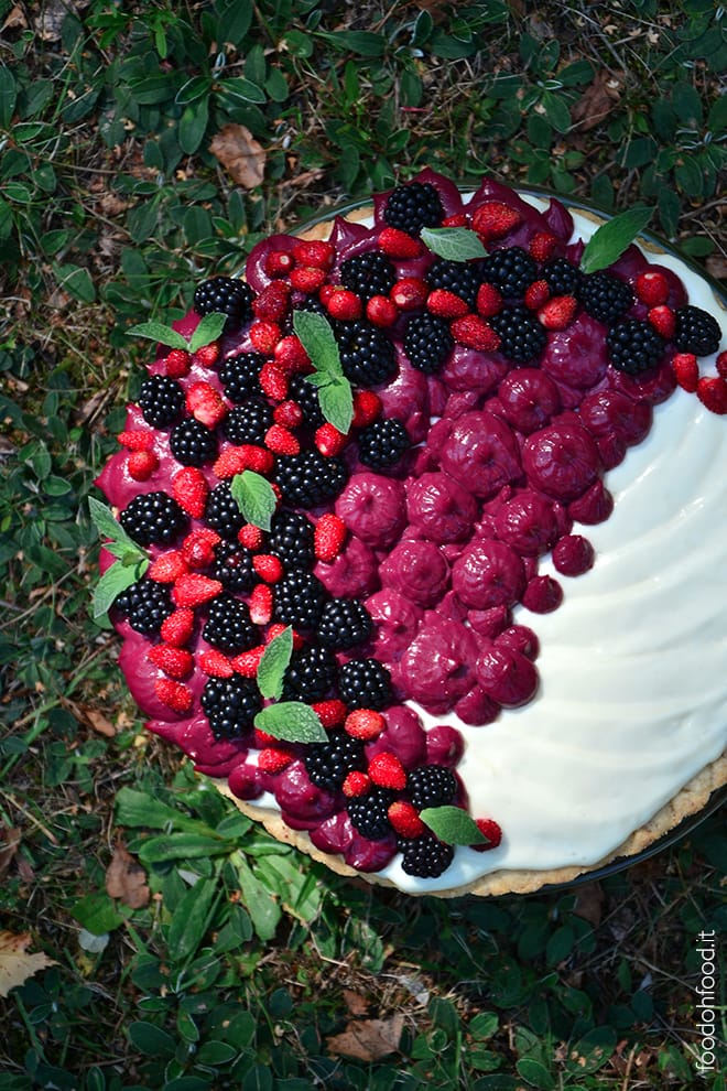 Kefir namelaka cream tart with blackberry curd