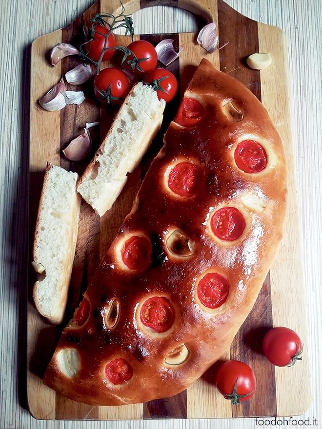 Tomato and garlic focaccia