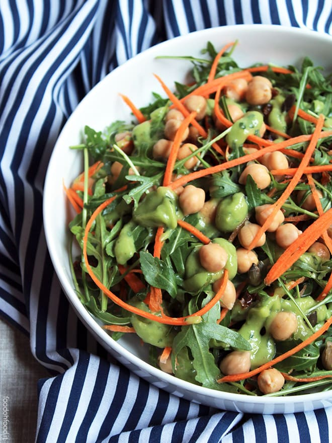 Chickpea salad with avocado dressing