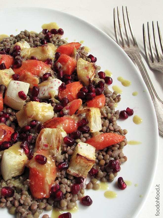 Warm lentil salad with roasted vegetables and pomegranate