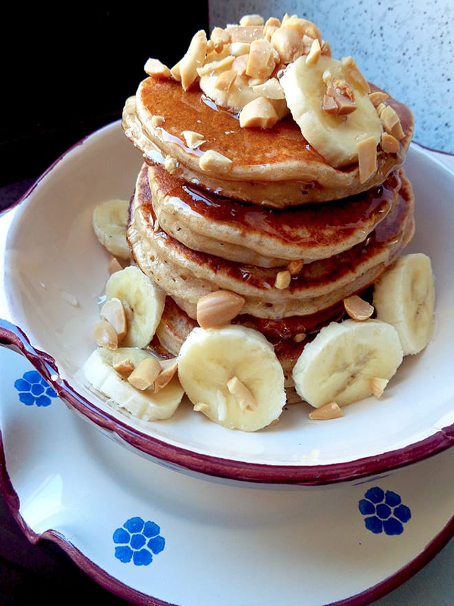 Vegan pancakes with banana and peanuts