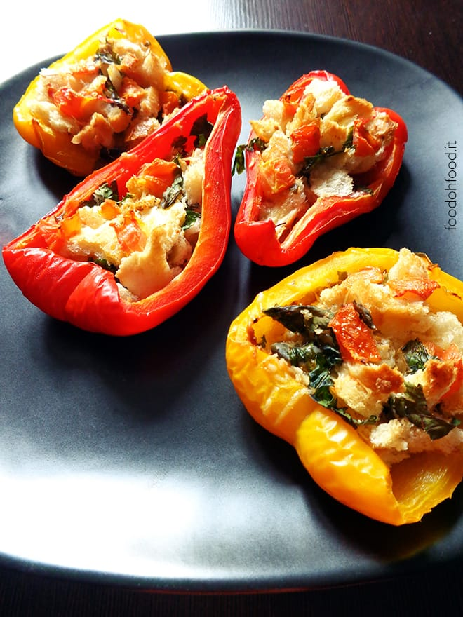 Vegetarian oven roasted stuffed bellpeppers