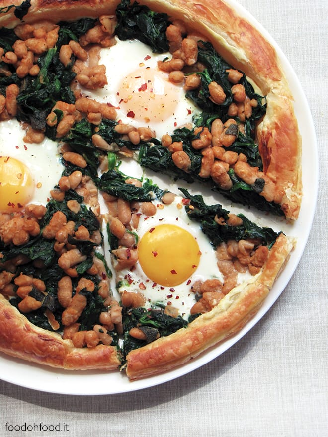 Puff pastry tart with spinach, spicy beans and eggs