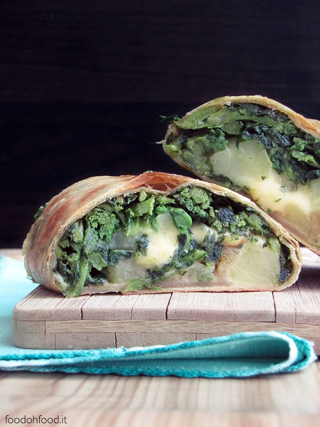 Savory strudel with broccoli rabe and potatoes