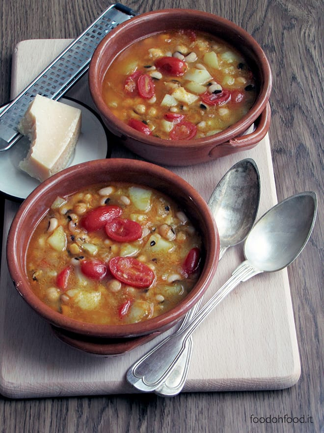 Black-eyed pea, chickpea and Grana stew