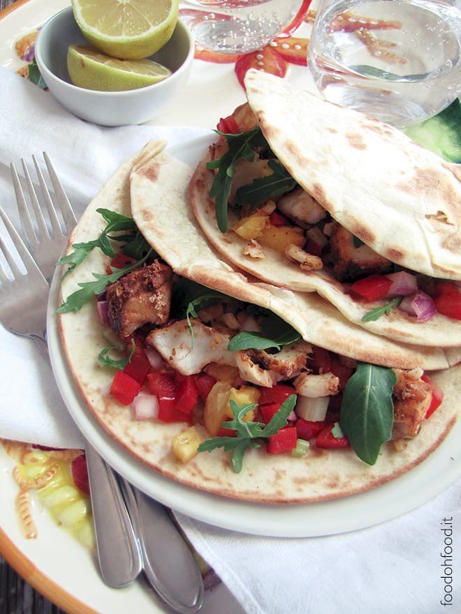 Fish tacos – spiced hake, sweet and sour garnish and yogurt sauce