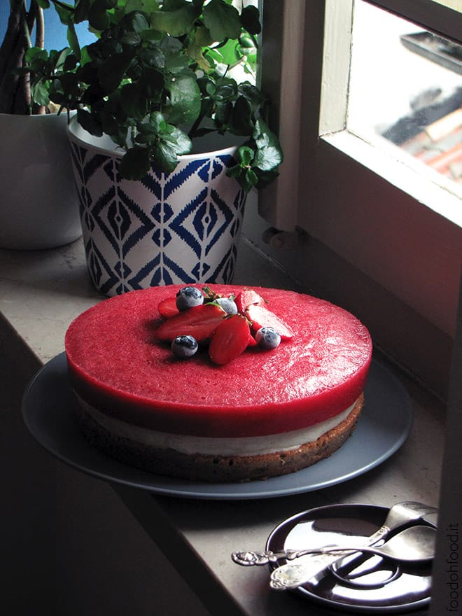 Cake with creamy coconut cardamom filling and strawberry gelee