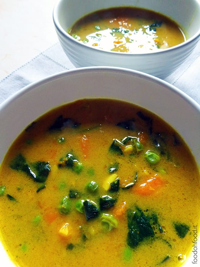 Pumpkin and peas spicy turmeric stew