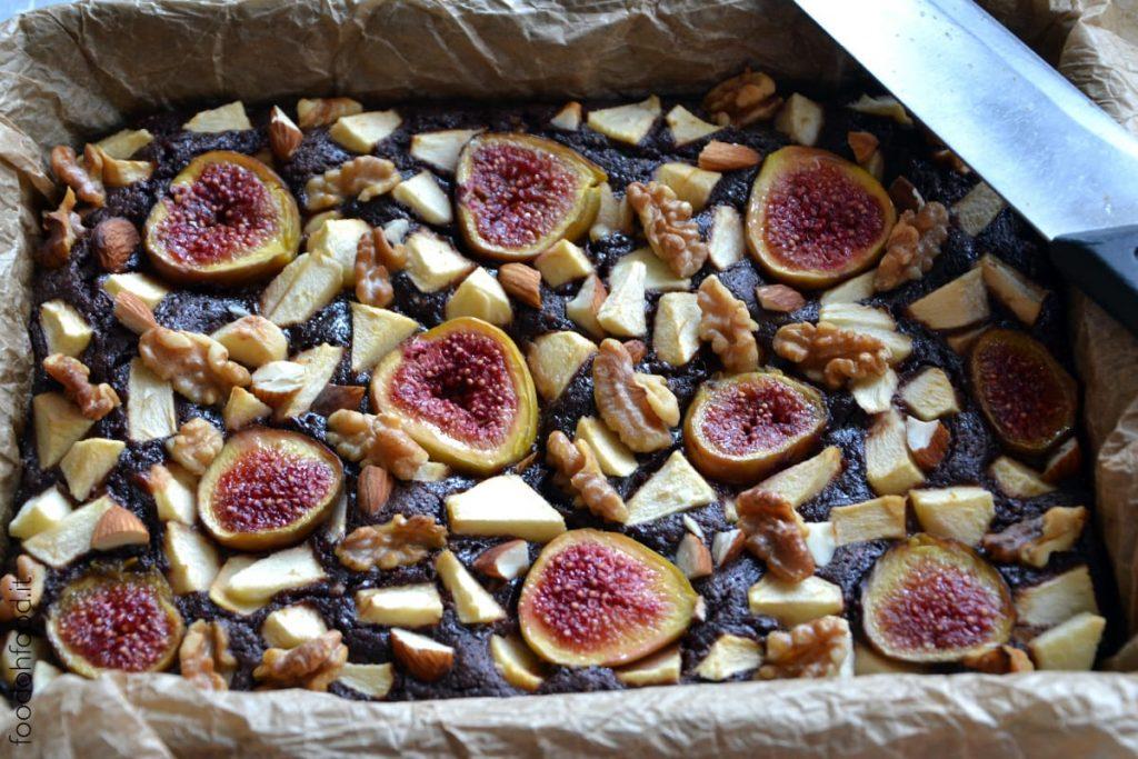 Almond, fig and apple dark chocolate brownies