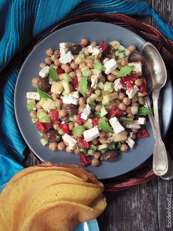 Fresh mixed salad with chickpeas and feta