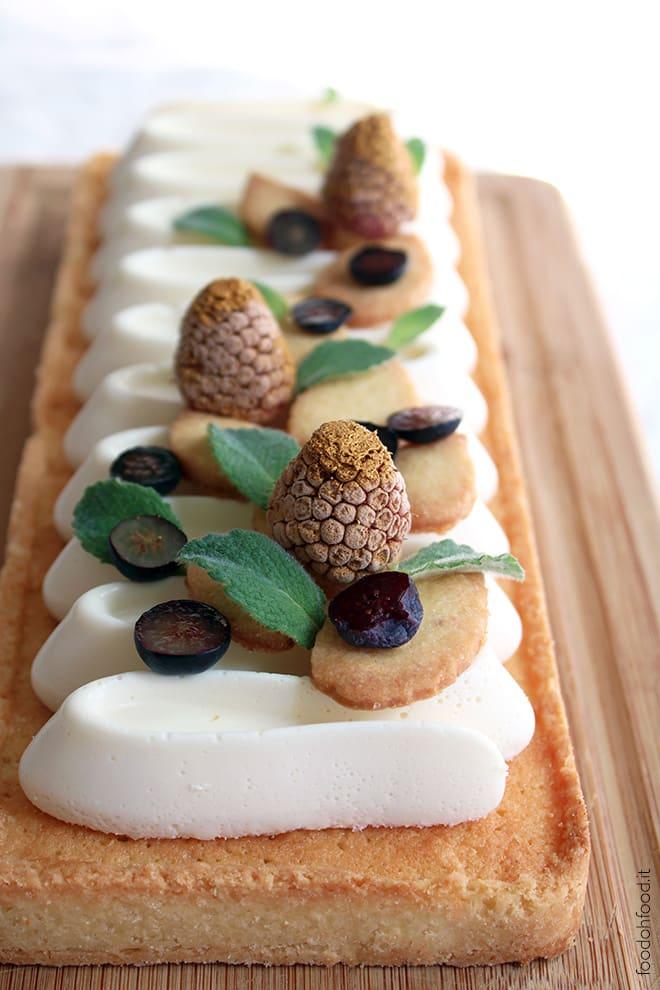 Coconut frangipane tart with ricotta and white chocolate cream