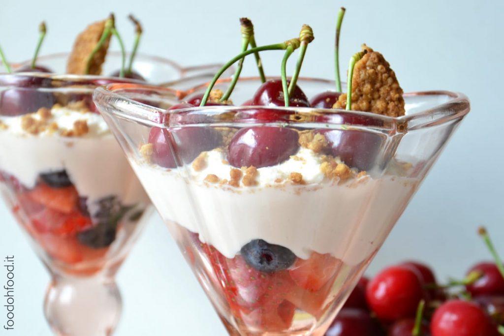 Sweet whipped ricotta dessert with fresh fruit