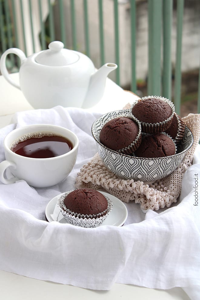 Rich and dense cocoa muffins with sparkling water