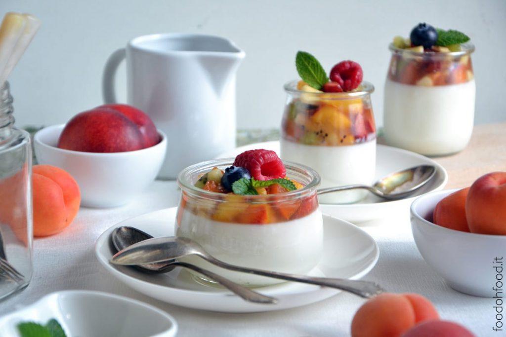 Greek yogurt panna cotta with fruit salad
