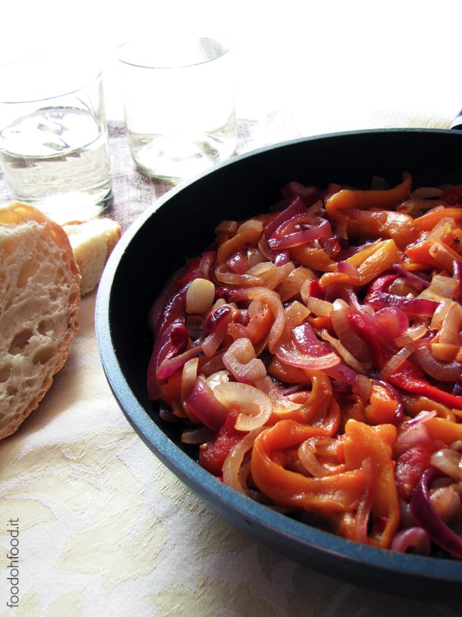 Peperonata – peppers cooked with tomatoes and sliced onions