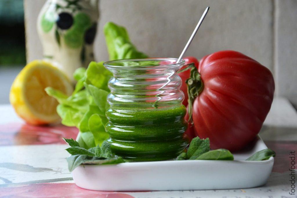 Fresh basil and mint salad dressing