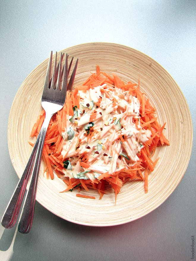 Grated carrot salad with kefir Dijon sauce