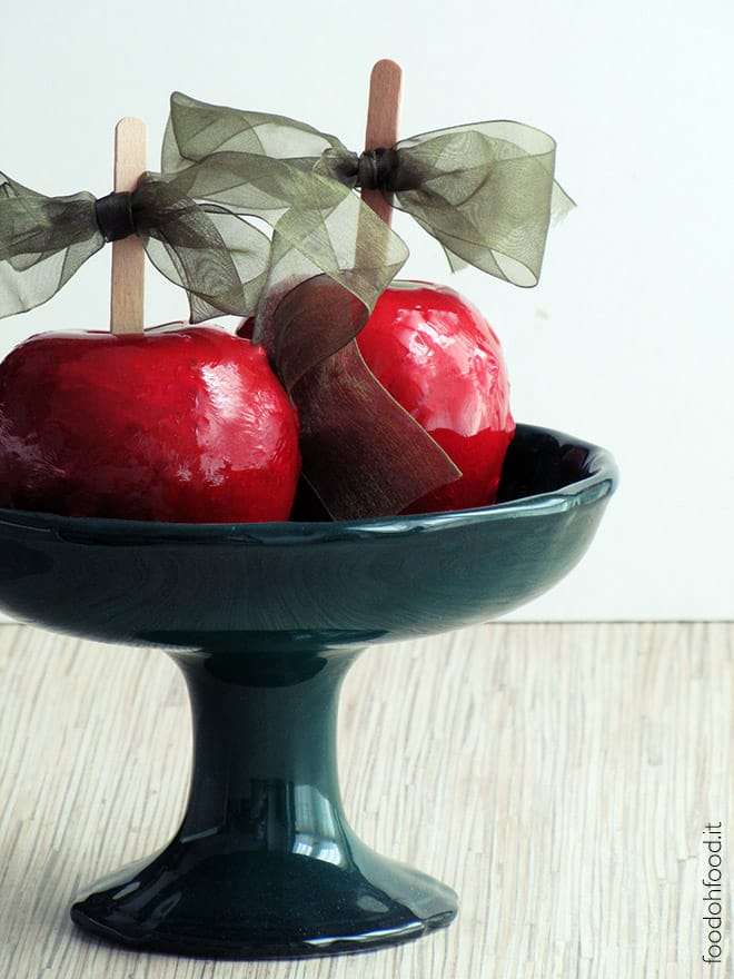 Classic red candy apples for Halloween