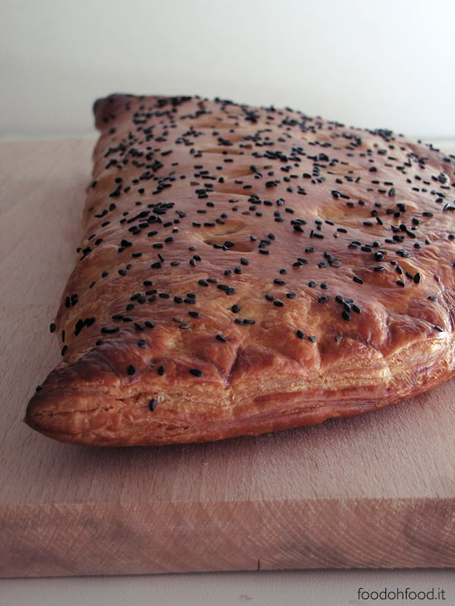 Leek and mushroom puff pastry pie