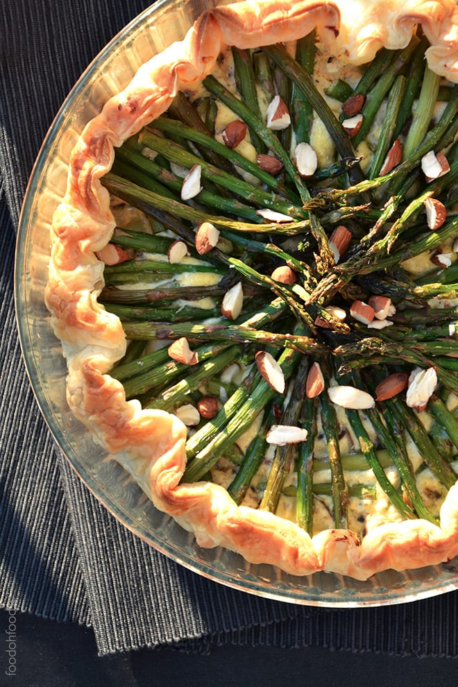 Puff pastry asparagus and mushroom tart