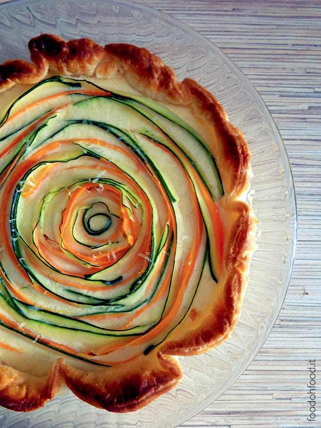 Savory pie with carrots, zucchini and creamy goat cheese