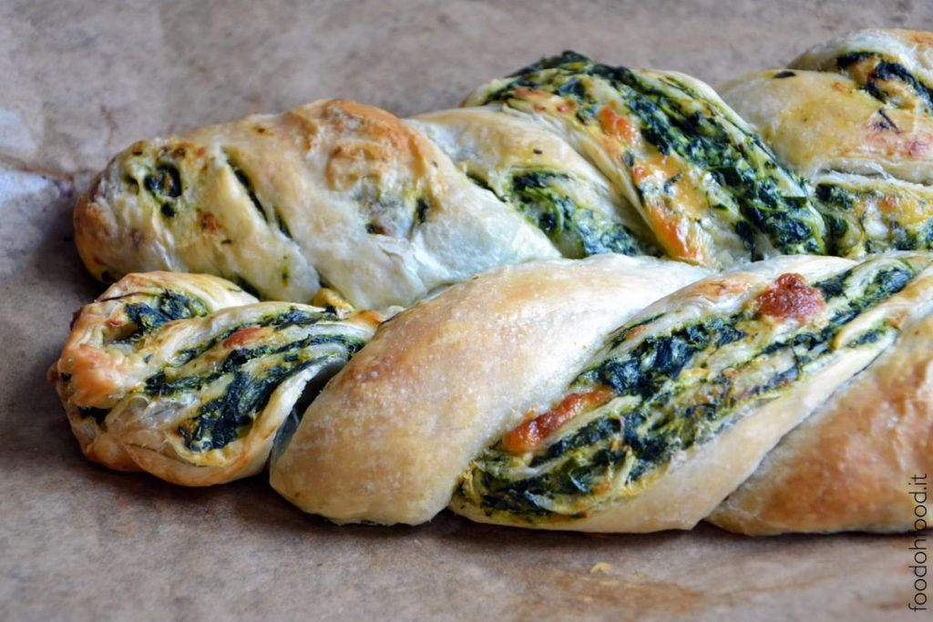 Puff pastry three cheese and spinach braid