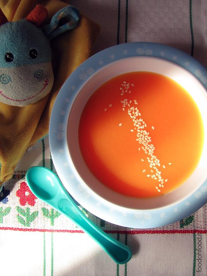 Zuppa di zucca e carote per bambini